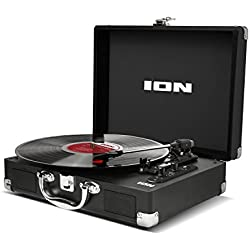 ION Audio Vinyl Motion Air - Platine Vinyle Bluetooth Ultra-Portable Style Valise avec Trois Vitesses (33, 45 et 78 Tours) et Enceintes Stéréos Intégrées, Batterie Rechargeable et Conversion USB