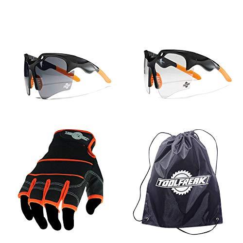 toolfreak Finisher Sicherheit Gläser und Sicherheit Sonnenbrille mit Fingerlose Handschuhe, Sport Stil Auge und Hand Schutz für professionelles Industrie, Sport und Aktivität