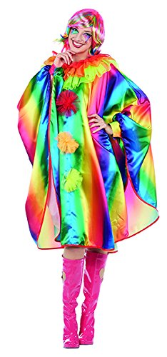 Clown Rainbow Kostüm - Rainbow Cape Damen Kostüm Umhang Überwurf Poncho