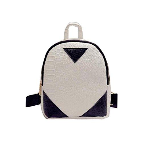 Lanspo Art und Weise Rucksack Frauen Segeltuch Rucksack Concise Serpentine Rucksack Schulbuch Handtasche Umhängetasche Kreuz Körper Tasche Weiß
