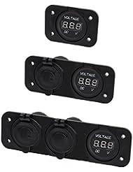 Voltmetro digitale, presa corrente e USB doppia English: