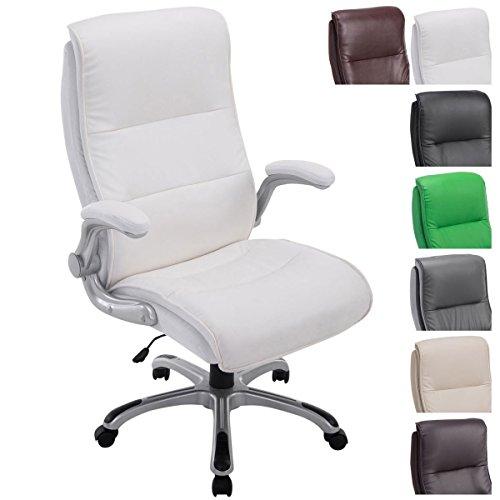 CLP Bürostuhl XXL Villach mit Kunstlederbezug I Höhenverstellbarer Schreibtischstuhl mit klappbaren Armlehnen I Drehstuhl mit Laufrollen Weiß