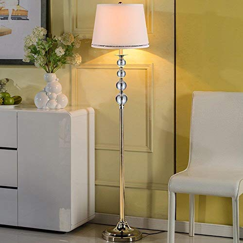 DQ-PenisO Vertikale Stehlampe, einfache Moderne Art-Edelstahl-Lampen-Körper-Gewebe-Lampenschirm E27 Fuß-Schalter-Chrom-Überzug-Stehlampe -