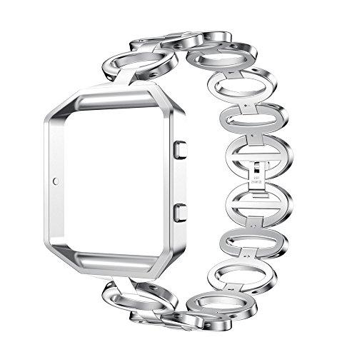 Fitbit Blaze Gurt, WEANT FB106Luxus Edelstahl Quick Release Armband Smart Watch Band Strap + Schutzhülle für Fitbit Blaze, Kinder Herren damen, silber