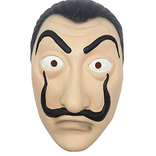 te Maske – Salvador Dalì – La Casa Papier – Realistica – Soft – Top Qualität – Fasching – Halloween – Cosplay – Verkleidung – Zubehör ()