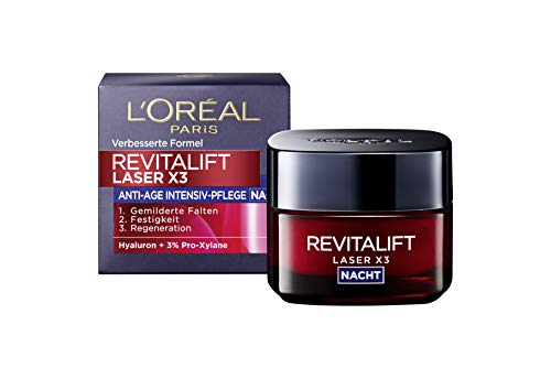 Loreal Anti-falten (L'Oréal Paris Hyaluronsäure Nachtcreme, Anti-Aging Gesichtscreme, Revitalift Laser x3 Nachtpflege für Anti Falten, 50ml)