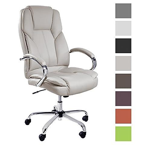 TPFLiving Premium XXL Bürostuhl Chefsessel Schreibtischstuhl DALLAS creme belastbar bis 215 kg hochwertig bequem Kunstleder Fixier- und Wippfunktion stabile Castor Rollen in 8 Farben wählbar