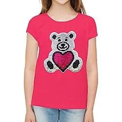 ZipZappa Osito de Peluche Lentejuelas Camiseta Para Niña Camiseta de Manga Corta (12 (11-12) Años, Cereza)