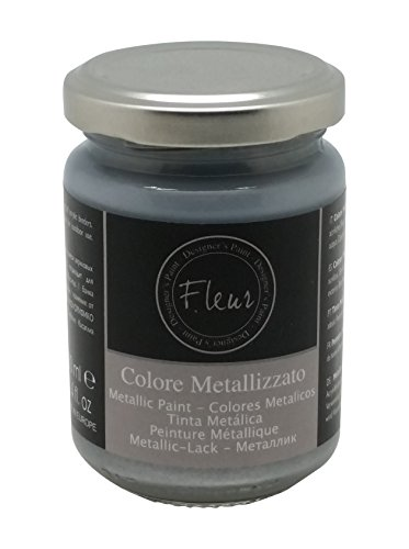 Fleur Paint 12501 - Pintura mineral metalizada (base agua, 130 ml) color aston silver