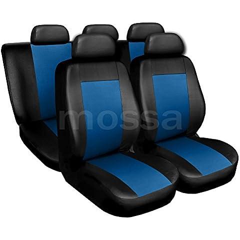 (CM-BL) Universal Fundas de asientos compatible con FORD (COUGAR, ESCORT, FIESTA, FOCUS, FUSION, KA, KUGA, MONDEO, ORION, PROBE, PUMA, SCORPIO, SIERRA) (cuero ecológico)