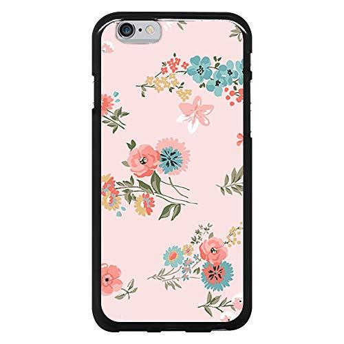 BJJ SHOP Schwarz Hülle für [ iPhone 6 / iPhone 6s ], Klar Flexible Silikonhülle, Design: Aquarell blüht mehrfarbigen rosa Hintergrund