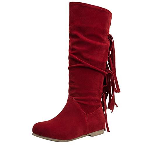 ❤Loveso❤ 2019 Fashion Damen Langschaft Stiefel Warm Comfortable Mittelrohrstiefel Mode-Design Quaste Casual Stiefel Boots