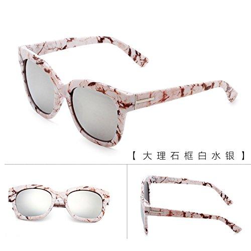 neue runde bunte sonnenbrillen, lady, rundes gesicht, koreanische retro - augen - brillen, sonnenbrillen, die flut,der weiße marmor quecksilber (stoff)