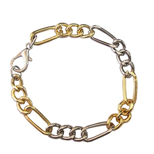 Mens Fashion Jewellery Stylish Gold Silver Figaro chain Dualtone fashion Bracelet  available at amazon for Rs.183