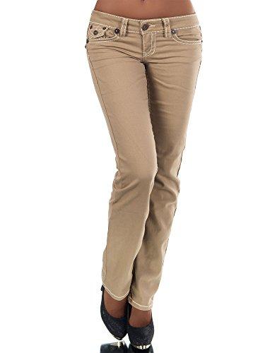 H922 Damen Bootcut Jeans Hose Damenjeans Hüftjeans Gerades Bein Dicke Naht Nähte, Größen:44 (XXL), Farben:Camel Denim Bootcut Hose