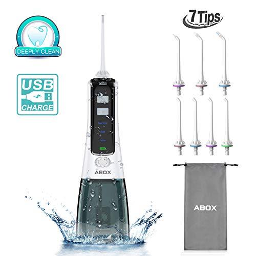 ABOX Irrigador Dental Portátil con 7 Boquillas