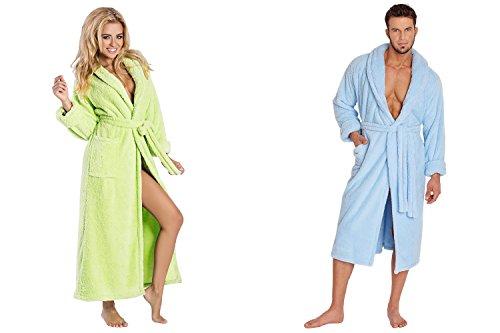 Ein Set bestehend aus 2 Bademänteln ist ein ideales Geschenk, für den gemeinsamen Wohlfühlfaktor in kalten Nächten. (XS-2XL) hellblau/grün