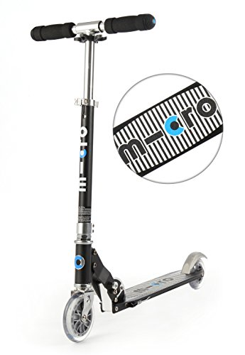 Micro Kinderscooter Sprite klappbarer Roller in schwarz mit gestreiftem Griptape - Scooter Micro Blau Sprite