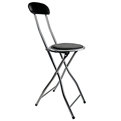 Oypla Black Padded Folding High Chair Breakfast Kitchen Bar Stool Seat - inexpensive UK light shop.