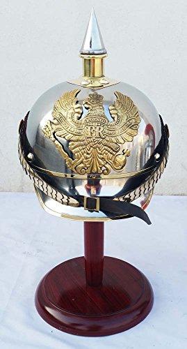 WW I & II Deutscher Preußischer Helm Messing Spike Pickelhaube Leder Helm Abzeichen
