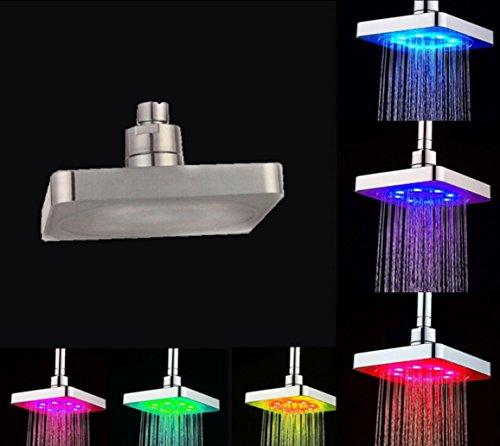 """Preisvergleich Produktbild BLYC- 6 """"quadratische ABS-Luxuxhaltbare Regen-Duschkopf mit sieben Licht der Farbe LED, das nach dem Zufall verläuft"""