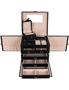 Songmics XXL Schmuckkästchen abschließbar mit spiegel Schublade und Mini-Box 5 Schichten mit 5 Schubladen Schwarz...