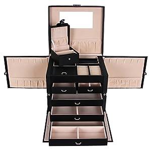SONGMICS Schmuckkästchen XXL abschließbar mit spiegel Schublade und Mini-Box 5 Schichten mit 5 Schubladen