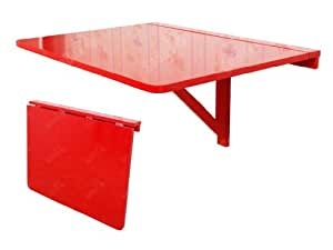 table murale rabattable en bois 75 60cm couleur rouge so fwt01 r jardin. Black Bedroom Furniture Sets. Home Design Ideas
