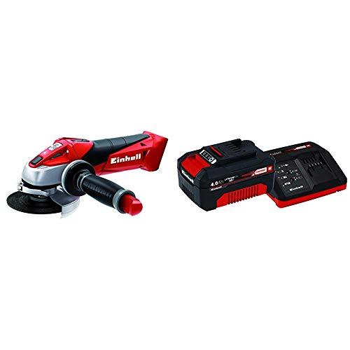 Einhell Expert TE-AG 18 Li Radial angular sin cable, hoja de sierra, 8500 rpm, 18 V, 12 W, color rojo y negro + 4512042 Kit con Cargador y batería de repuest, tiempo de carga: 60 Minutos