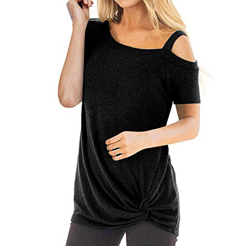 TWIFER Sommer Schulterfreies T-Shirt Damen Mode Kurzarm Reine Farbe Top Fashion Tee Shirt ()