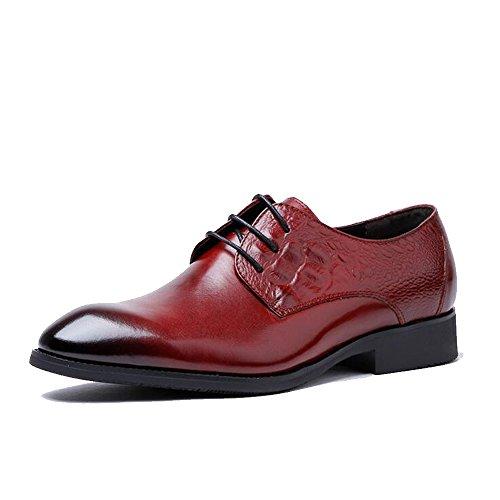 9 Kleid Schwarz Größe Schuhe (GAOLIXIA Herrenmode Lederschuhe - Herren Leder Schnürschuhe Hochzeit Business Kleid Schuhe - Gelb Schwarz Burgundy UK Größen 6-10 (Farbe : Burgund, Größe : 42))