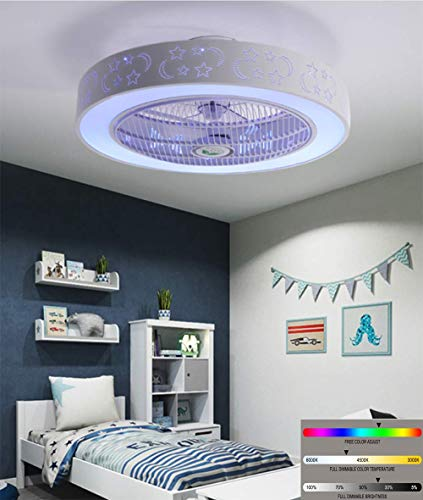 Ventilador de techo Luz de techo LED moderna, con altavoz musical Bluetooth dual, luz de techo regulable...