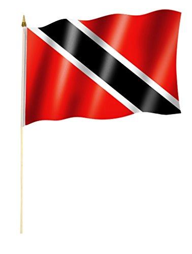 Stockflagge/Stockfahne TRINIDAD UND TOBAGO Flagge/Fahne ca. 30 x 45 cm mit ca. 60cm Stab/Stock (Trinidad Auto Fahne)