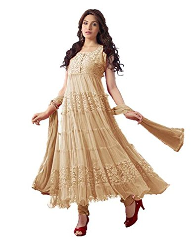 Dayli deal Women's Khantil Beautiful Designer Cream Anarkali Suits  available at amazon for Rs.249