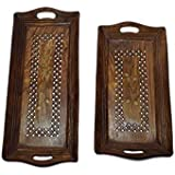 Lunatic Craftwork Hand Carved Wooden Serving Tray Set Of 2 (Tea, Coffee, Snacks, Water) Decorative Tray/Platter For Home/Kitchen / Table Decor