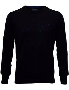 Gant Punto Textura Cuello Del Suéter, Clásico Azul