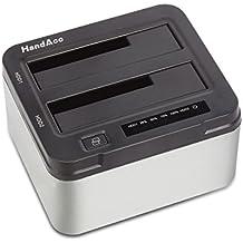 """HandAcc USB 3.0 Offline Klon Docking Station mit 2 Einschüben, optimiert für HDD / SSD Festplatte, 2,5"""" und 3,5"""", 2,5 und 3,5 Zoll (SATA I / II / III), inklusive USB 3.0 Kabel und 12V 4A Netzteil, unterstätzt 2 x 8 TB"""