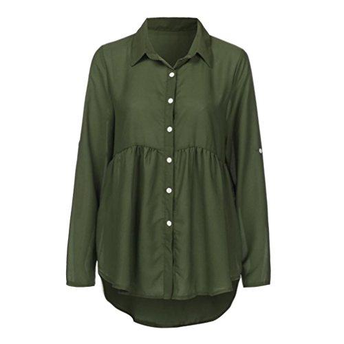 ❤️Manadlian Chemisier Blouse Femme Ete 2018,Femmes T Shirt Femme Grande Taille Sexy à Manches Longues en Mousseline de Soie OL armée verte