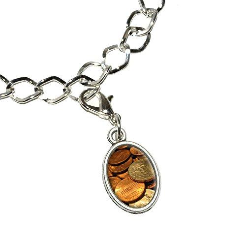 Münzen Währung–Pennies Groschen Nickels Armband versilbert mit Antik Oval Charme