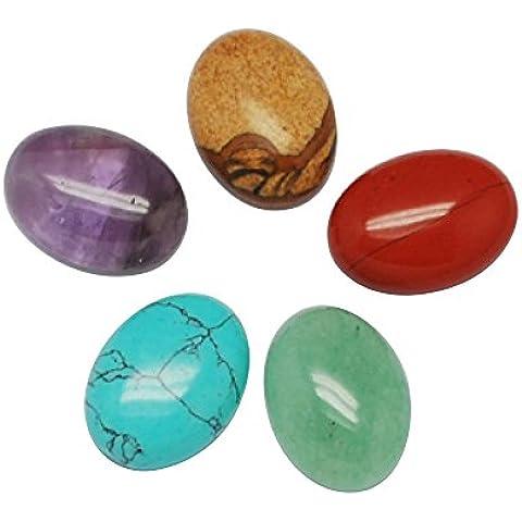 PandaHall-Cabujones de piedras preciosas, mixta de piedra, oval, color mixto, 20x15x6mm