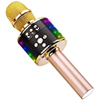 Ankuka Wireless Karaoke Microphones Speaker, 4 in 1 Handheld Portable Bluetooth Home KTV Player, Superior Audio Quality for Singing & Recording, Compatible with Android & iOS (Q78 Light Gold)