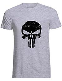 baf993eb4c8cc9 ROBO Homme T-Shirt Imprimé Tête de Mort Tribal Squelette Col Rond Manches  Courte Tops