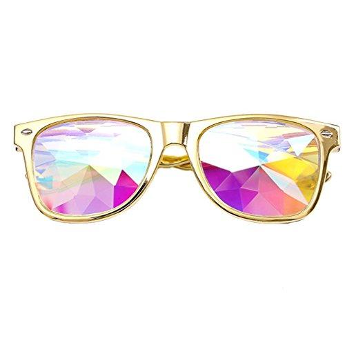 Makefortune Frauen Sonnenbrillen, Kreatives Design Kaleidoskop Gläser Rave Festival Party EDM Sonnenbrille Gebeugtes Objektiv (Gold)