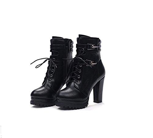 b905b03b84f12 Padgene Schwarz Braun Schnürer Damen Stiefel Plateau Blockabsatz  Stiefelletten Ankle Boots mit Vierziert Schnalle Riemen Schwarz