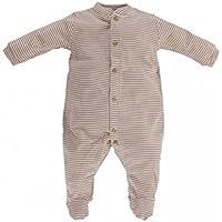 Artesanía Cuadrado - Pijama enterizo de bebé de algodón orgánico de rayas - Talla Unica, Rayas beis y marrones