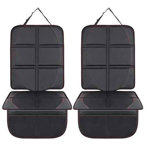 Autositzauflage, SUPTEMPO Isofix geeignete Kindersitzunterlage wasserabweisend Auto-Kindersitzunterlage Autositzschutz mit 2 Aufbewahrungstaschen (2 Stück)