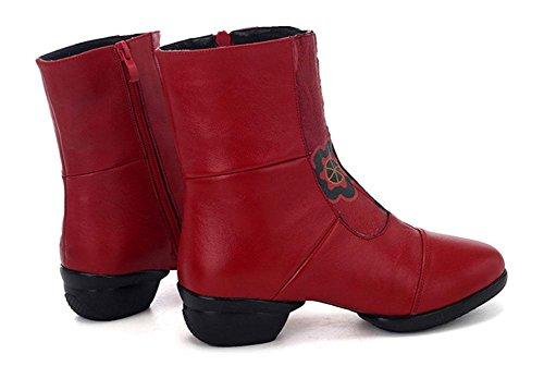 SHIXR Chaussures de danse de femmes Chaussures de danse de cuir national de vent Chaussures de danse de bande supérieure Chaussures de jazz de fond doux Chaussures latérales de fermeture éclair rouge