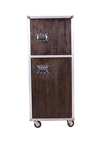 Roll-Schrank aus Mango schwarz gebeizt mit 2 Türen und 3 herausnehmbaren Böden 60x154 cm | Dark Sidor | Roll-Container mit Kühlschrankgriffen und silbernen Beschlägen aus Alu 2-türig 60cm x 154cm
