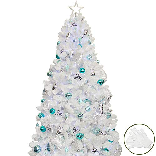 Busybee Árbol de Navidad artificial de 210 cm con 360 luces LED y 146 decoraciones decoraciones...