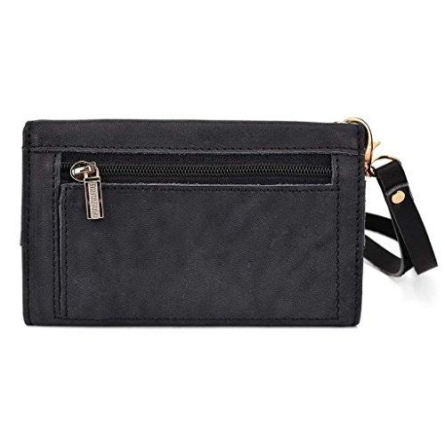 Kroo Pochette Housse Téléphone Portable en cuir véritable pour Panasonic P55 Marron - marron noir - noir